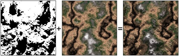 Figure 3: Multiplied terrain- and shadowmap.